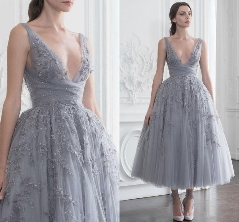 7c020d74b2a4 Paolo Sebastian Short Prom Dresses Sequined Beaded Sexy Deep V Neck Evening Dress  A Line Vestidos De Fiesta Tulle Formal Party Gowns Chiffon Prom Dresses ...
