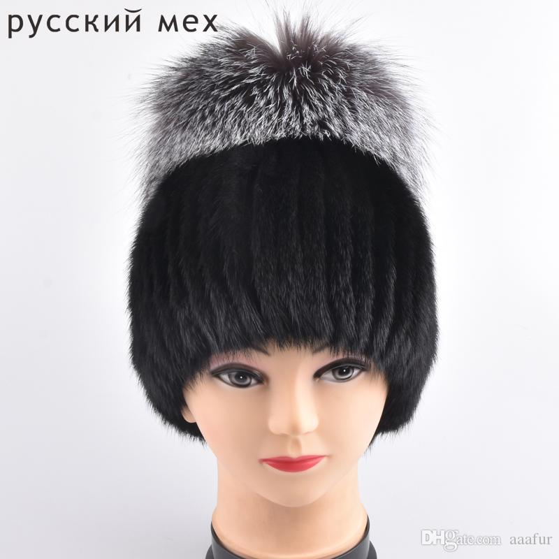 d3bb0bb6828ab Fox Fur Hat Guarantee 100% Natural Genuine Mink Fur Cap Women Knitted Black  Beanie Hats For Winter Bone Fashion Warm Caps Trilby Mens Hats From Aaafur