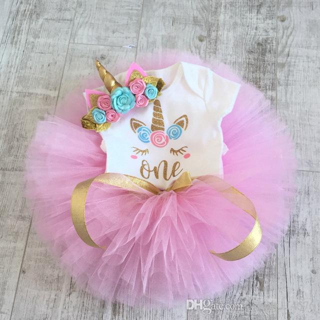 49f12a947e2 2019 Baby Girl Clothes Dresses 1Year Unicorn Dress 1st Birthday Unicornio  Romper Tutu Headband Baptism New Born Christmas Costume XF142 From  Windy114576