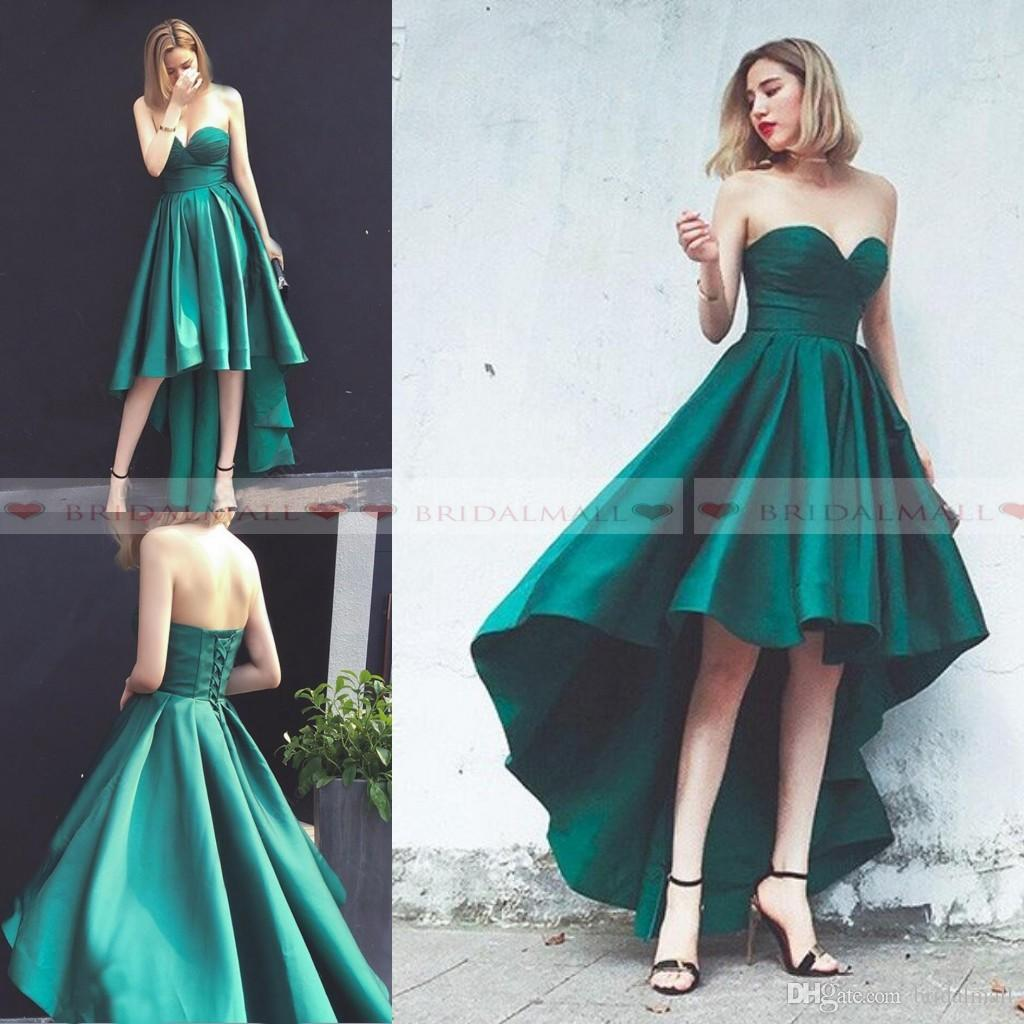 799c0b9841b0a Hunter Green Pleats Satin High Low Prom Dresses 2019 Cheap Sweetheart Neck  Formal Party Gowns Corset Lace Up Back Homecoming Dress Cocktail