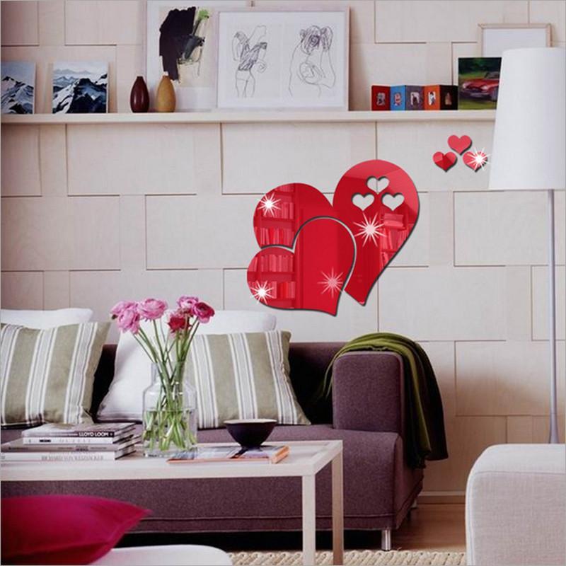 Venta Caliente 3d Espejo Amor Corazones Etiqueta De La Pared Decal Diy Home Room Art Mural Decoración Extraíble Habitación Decal Wallpaper