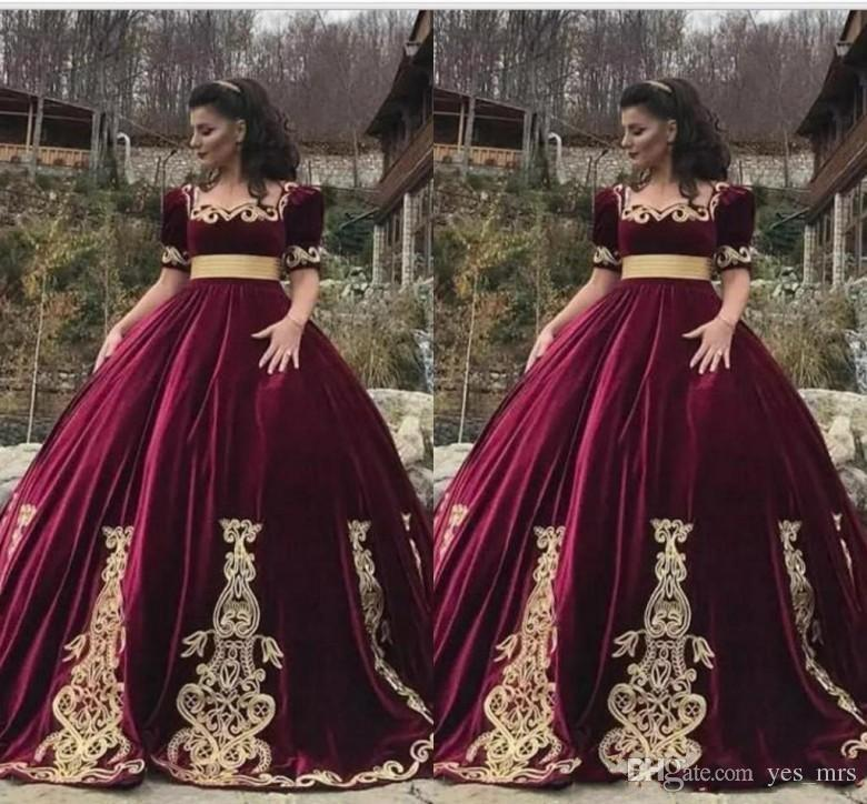 f5892e9499 2019 New Vintage Burgundy Ball Gown Quinceanera Dresses Velvet 1 2 Sleeve Square  Neck With Gold Appliques Sash Plus Size Prom Evening Gowns 15 Dresses Ball  ...