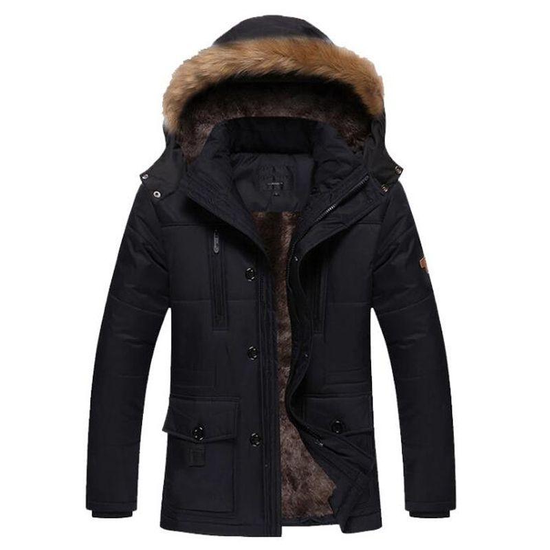 c544c4f71 Chaqueta de invierno de los hombres prendas de abrigo gruesas abrigos para  hombre cuello de piel desmontable con capucha chaquetas hombres ...