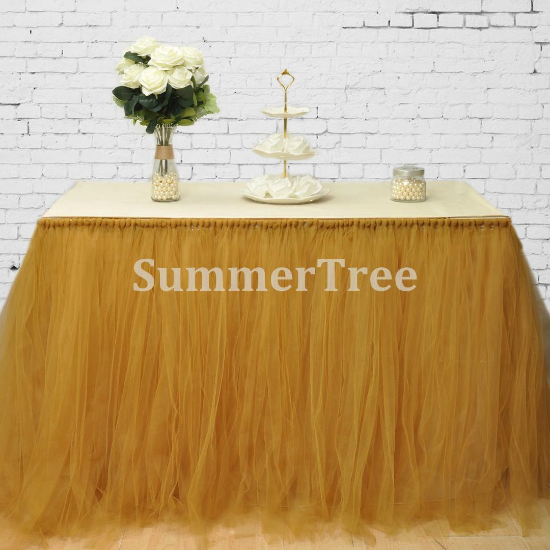 2019 gold 100cm tulle table skirt wonderland table tutu skirting rh dhgate com