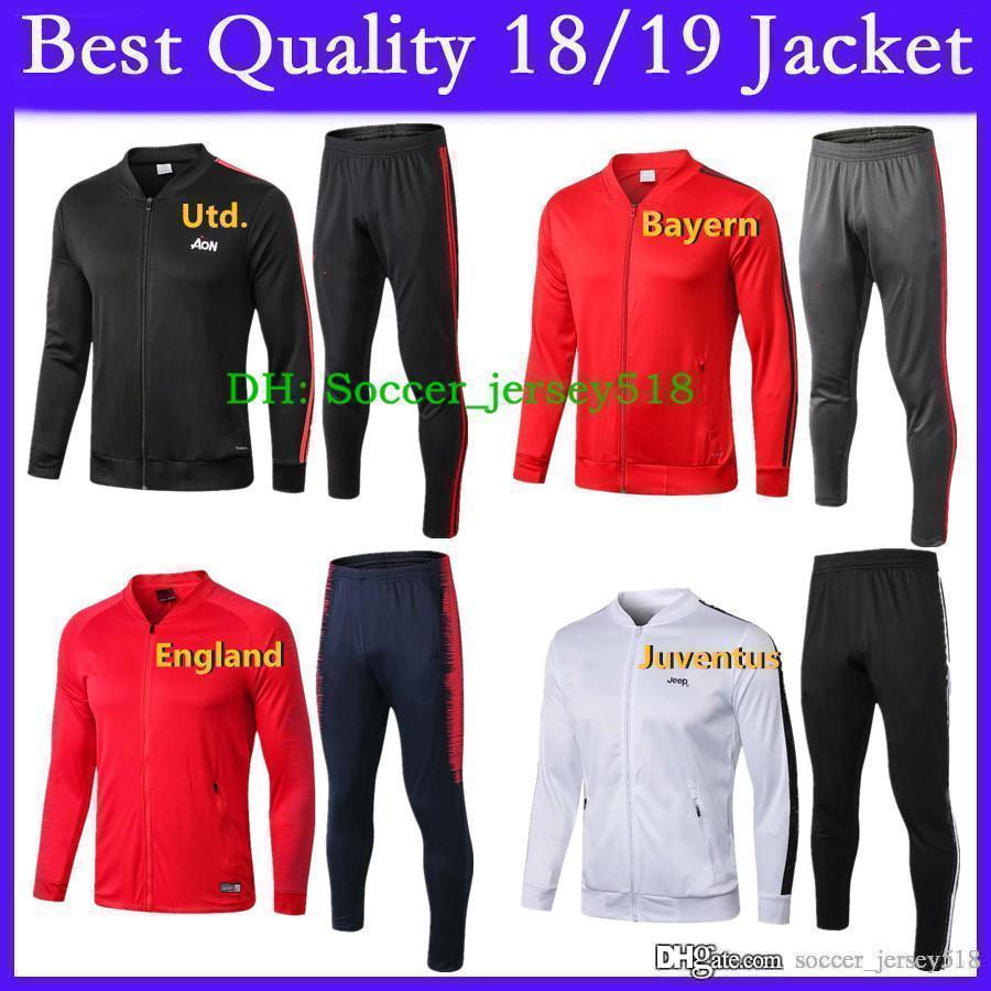 d3a7b1f57cd Compre   Novo 2018 19 Thai Qualidade Jaqueta Treino Bayern Unida Juventus  Inglaterra Uniforme De Treinamento De Futebol Conjunto De Futebol Jersey  Jersey De ...