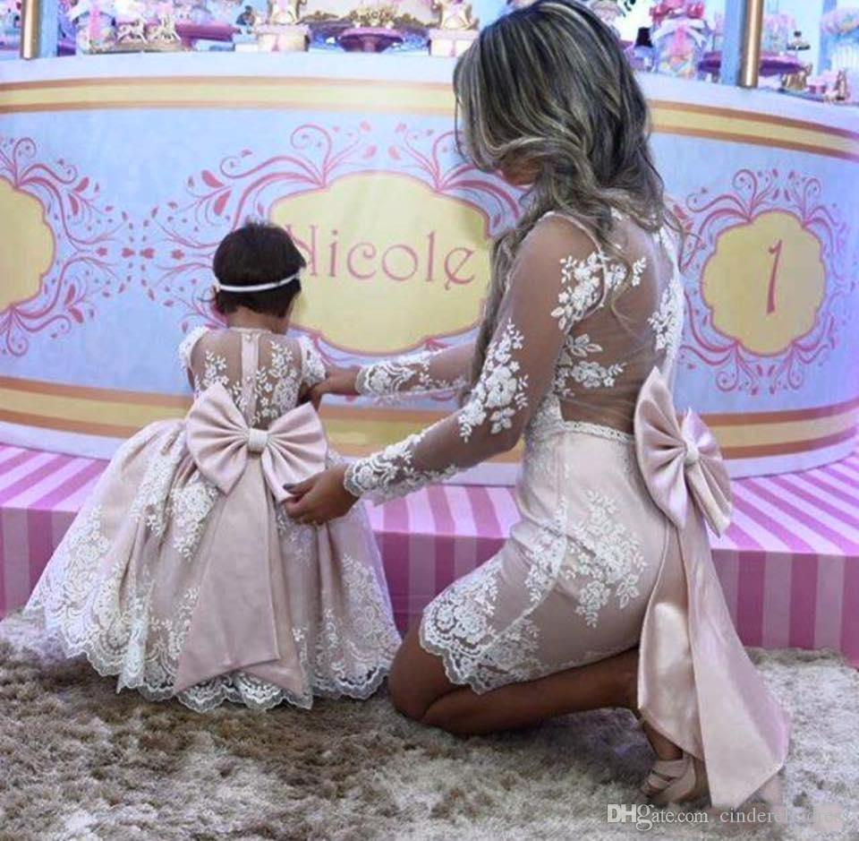 Lovely Mother Daughter Princess Pink lace Ball Gown Flower Girl Dresses Long Sleeves Mother Of Bride Dresses With Big Bow