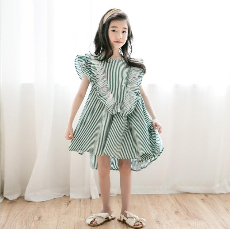 54a5322c2a87 2019 2019 Korean Style Girls Striped Ruffles Dress Summer Fashion Teenage  Girls Clothing Dresses 4 9 Years From Hanlley, $151.78   DHgate.Com