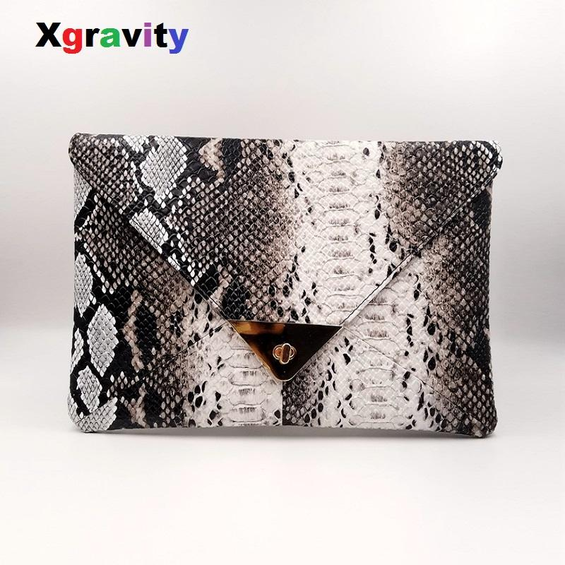 92a1bd681e7 Xgravity 2019 Spring Lady Evening Bag New Fashion Women s Synthetic Leather  Bag Snakeskin Envelope Day Clutches Purse H125