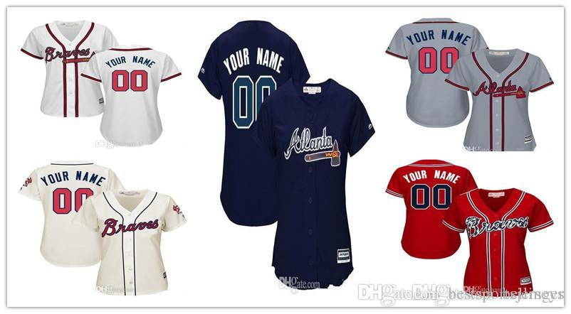 cheaper bc58e 097aa Custom Women Braves Baseball Jerseys Personalized any name and number 100%  stitched Embroidery logos size S-2XL Good Quality