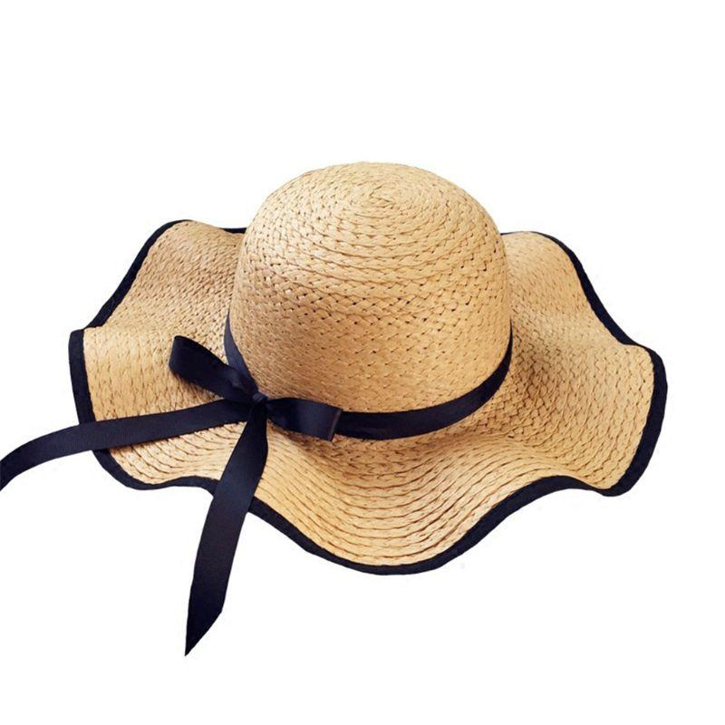 768a6ad280e05 Women Summer Straw Weave Floppy Beach Sun Hat Contrast Color Trim Long  Ribbon Bowknot Decor Wide Wavy Brim Bucket Hat With Chin Knit Hats Bailey  Hats From ...