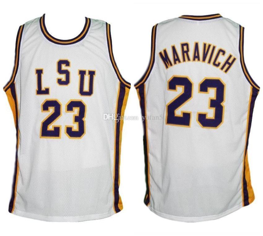 the latest 95948 e4cf7 Pete Maravich #23 LSU Tigers College Retro Basketball Jerseys Mens Stitched  Custom Any Number Name