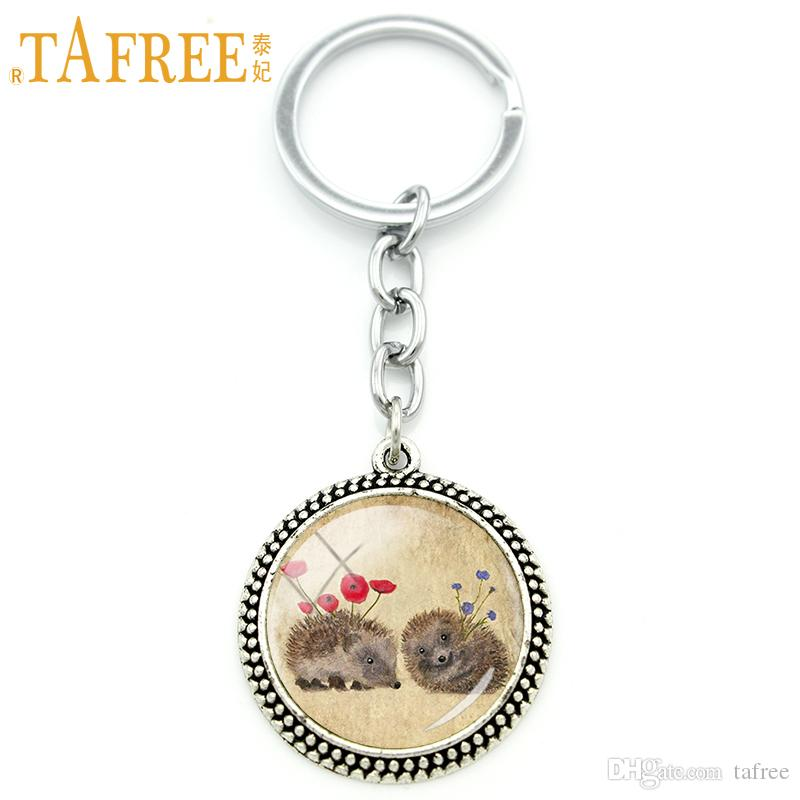 TAFREE Hedgehog Key Chain men women couple Full of love charm for Handmade Fashion Keychain round Glass cabochon jewelry H254