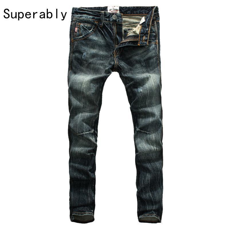 919bb0cb8f48e 2019 Hot Sale Men`s Dark Distressed Jeans Mid Stripe Slim Straight Denim  Pants Male Superably Brand Jeans Men 28 38 206 2 From Quhai