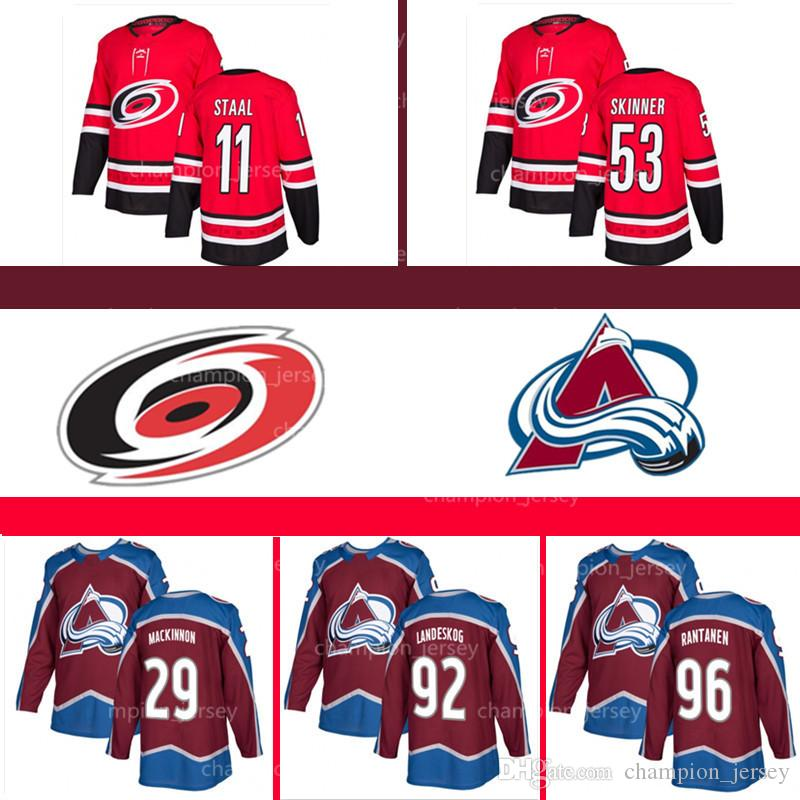 low cost 46e21 c989f Men's Colorado Avalanche MacKinnon Jerseys 92 Gabriel Landeskog Rantanen  Carolina Hurricanes 11 Staal 53 Jeff Skinner NHL jersey