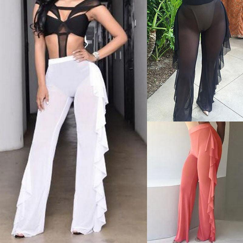Women Mesh Sheer Bikini Sexy Pants Cover Up Ruffles Long Trousers Beach Swimwear See Through Solid Holiday Clothes Summer 2019