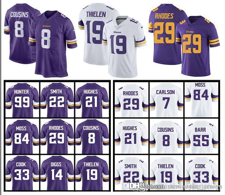 dd83887b0 2019 MINNESOTA 8 Kirk Cousins VIKINGS Jersey 19 Adam Thielen 22 Harrison  Smith 14 Stefon Diggs 99 DANIELLE HUNTER 29 Xavier Rhodes Jerseys From ...