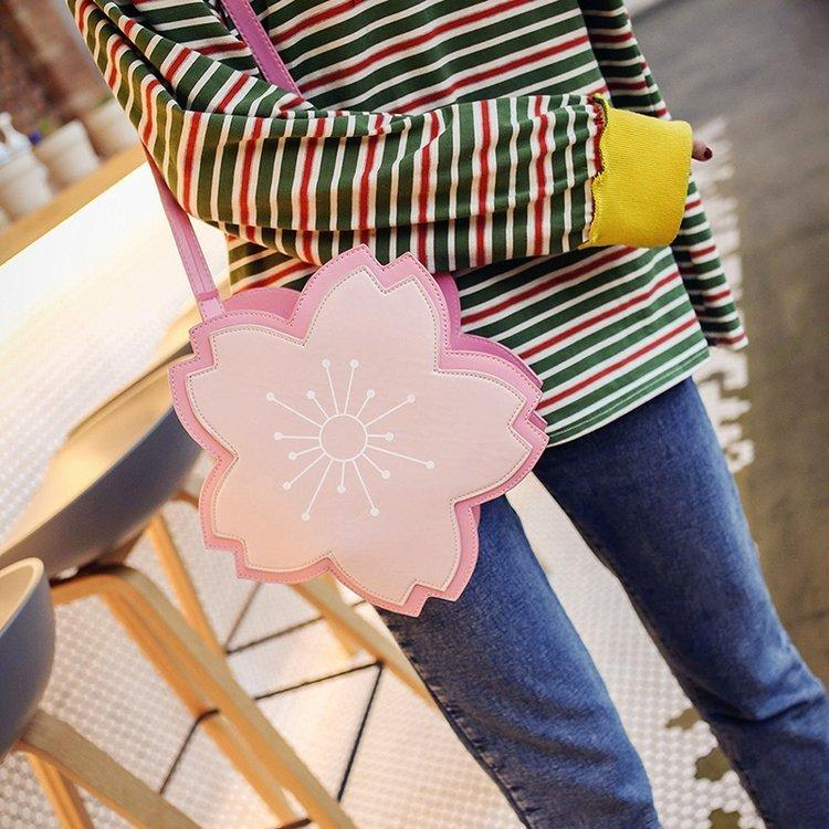 Women 3d Sakura Style Cute Pu Shoulder Bag Female Flower Handbag Girls Pink Lolita Messenger Crossbody Bags Satchel