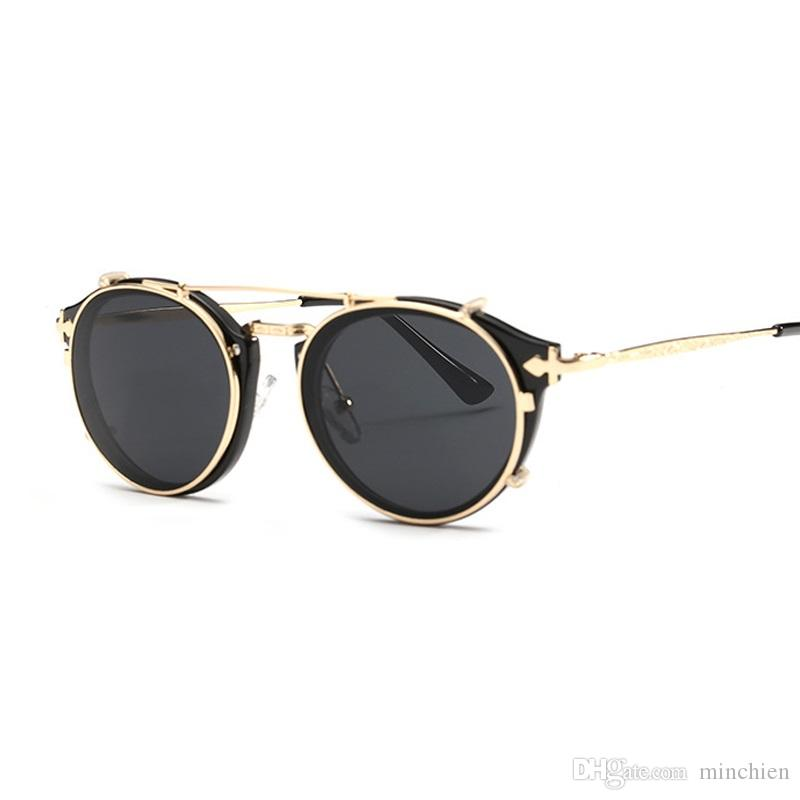 4d8c5c6a66 Vidano Optical Vintage Round Women Sunglasses Steampunk Retro Men Woman Designer  Glasses Clip On Gothic Sunglass Oculos De Sol Sunglasses At Night ...