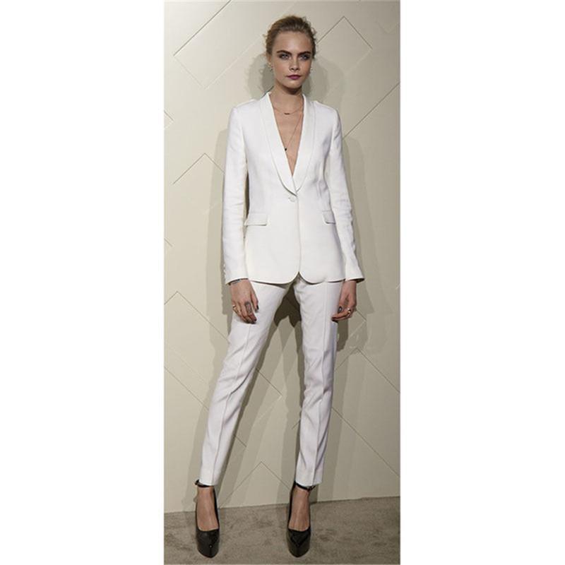 c8845a232f8 Bespoke White Designer Womens Suits Formal Business Work Suit Shawl Lapel  Ladies Trouser Female Suit