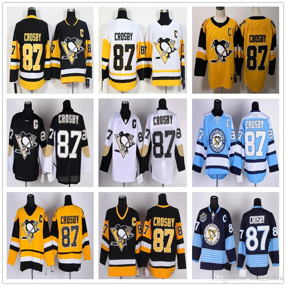 New   Old Style Men  87 Sidney Crosby Jersey Winter Classic Black Yellow  White Blue Stitched Embroidery Ice Hockey Sidney Crosby Jerseys UK 2019  From ... 5b7d2a962