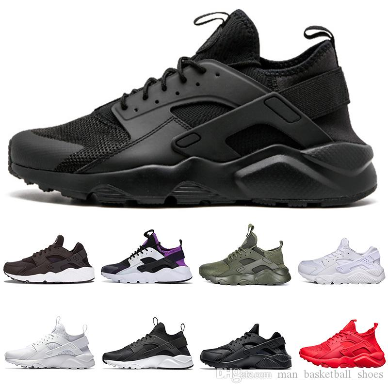 on sale 33f04 6fc31 Huarache 1.0 4.0 Mens Womens Running Shoes Classic Triple White Black Red  Grey Huaraches Outdoor Runner Sport Trainers Sneakers Eur 36 45 Running  Clothes ...