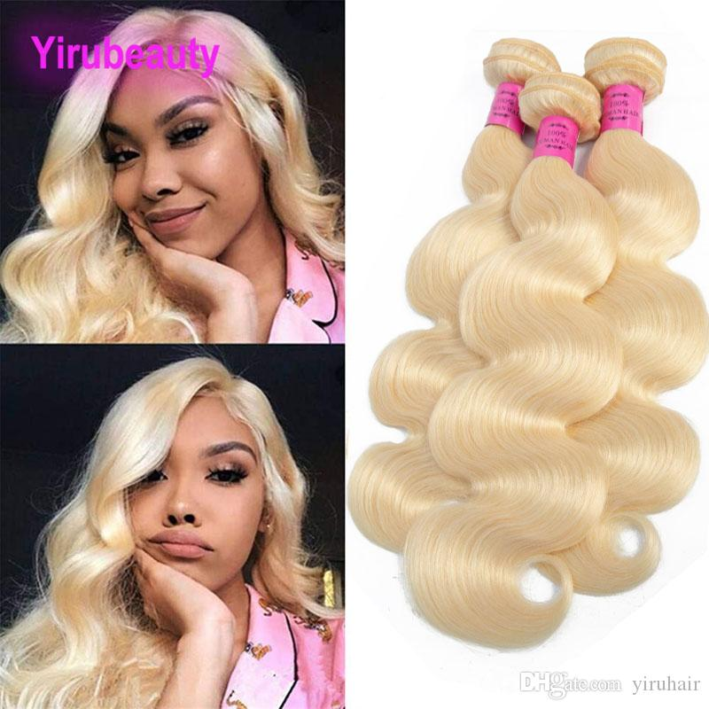 Indian Human Hair Raw Virgin Hair 3 Bundles Yirubeauty Straight 613# Blonde Straight Indian Hair Extensions Weaves