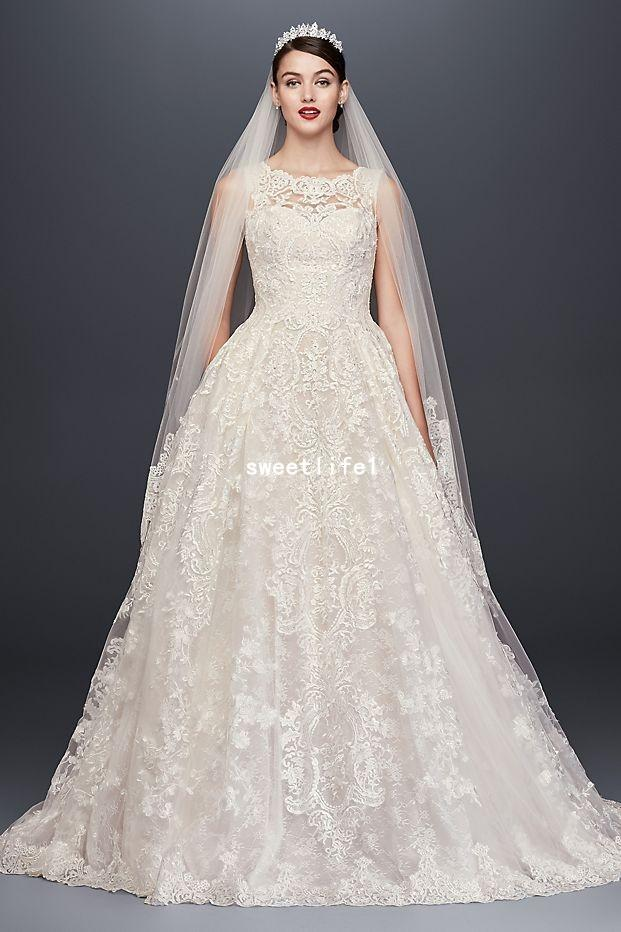 f8512929052 Discount Oleg Cassini 2018 Elegant Wedding Dresses O Neck Back Button Lace  Appliques A Line Court Train Bridal Gown Custom Made Wedding Dresses With  Sleeves ...