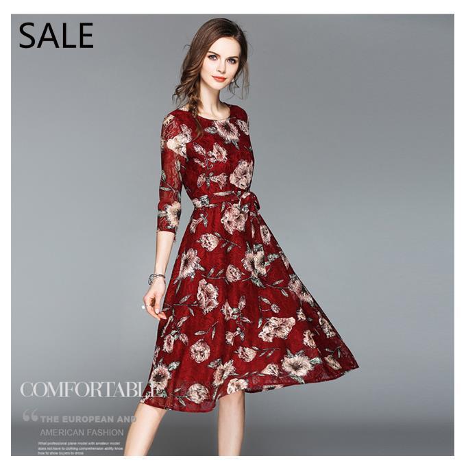 10ea34c3470fd Satın Al Kadın Elbiseler Ekip Boyun Dantel Moda Kırmızı Çiçek Baskı Tasarım  Casual Stil Bayanlar Günlük Elbise Eğlence Kız Bahar Günlük Elbise, ...