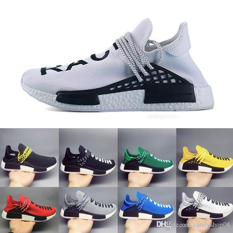 f1ab0e595871f 2019 Human Race NMD Running Shoes Pharrell Williams Hu Trail Oreo Nobel Ink  Black Nerd Designer Sneakers Men Women Sport Shoes Yellow Shoes Gold Shoes  From ...