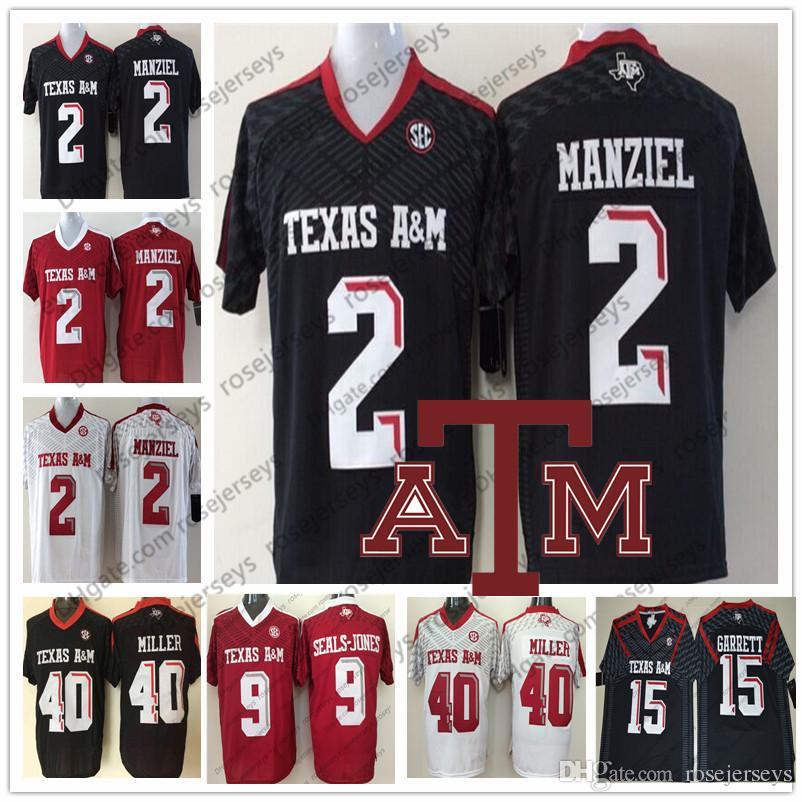 low priced a3dc9 09fb7 NCAA Texas A&M Aggies #2 Johnny Manziel 40 Von Miller 15 Myles Garrett 9  Ricky Seals-Jones Black Red White Men Youth Women Jersey