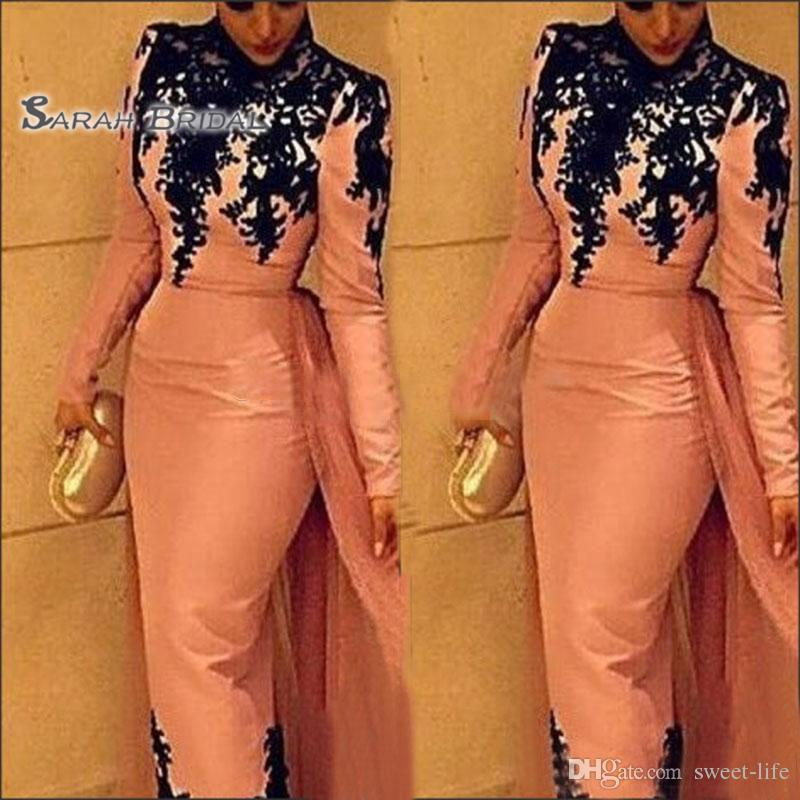 2019 Noble High Neck lace applique Evening Dresses Muslim Style Formal Long Sleeves Detachable Overskirt tea Length Prom Gowns