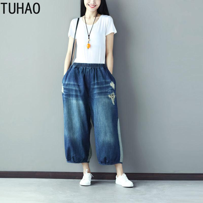 fdabb07242687 TUHAO Plus Size Vintage Casual Denim Wide Leg Pants High Waist ...