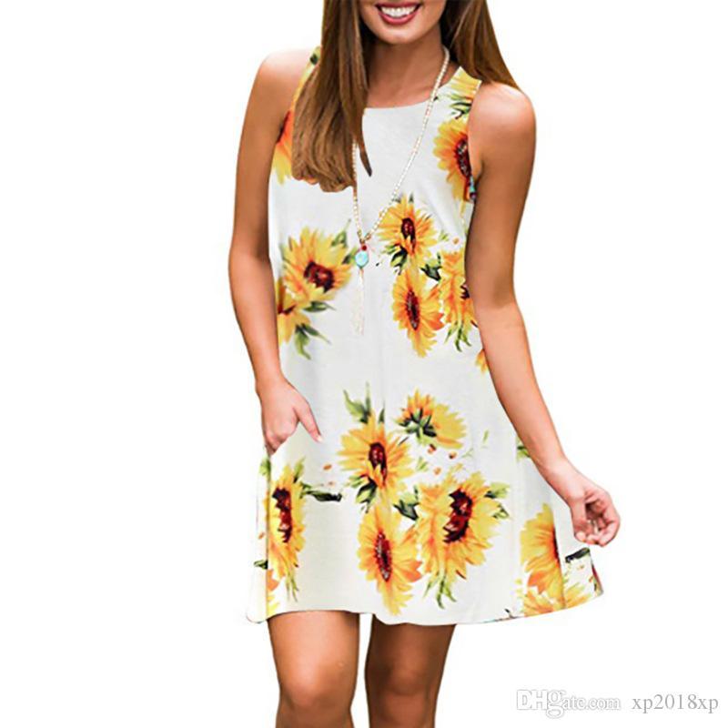 35f2459a8d2fa Summer Women Casual Beach dresses Fashion Bohemian round neck print  sleeveless dress women's pocket sunflower dress party dress