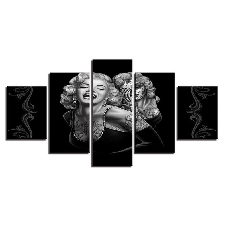 5 Pcs Combinations HD tattooed Marilyn Monroe Unframed Printed Canvas Oil Painting Hotel home Bar Wall Decoration poster