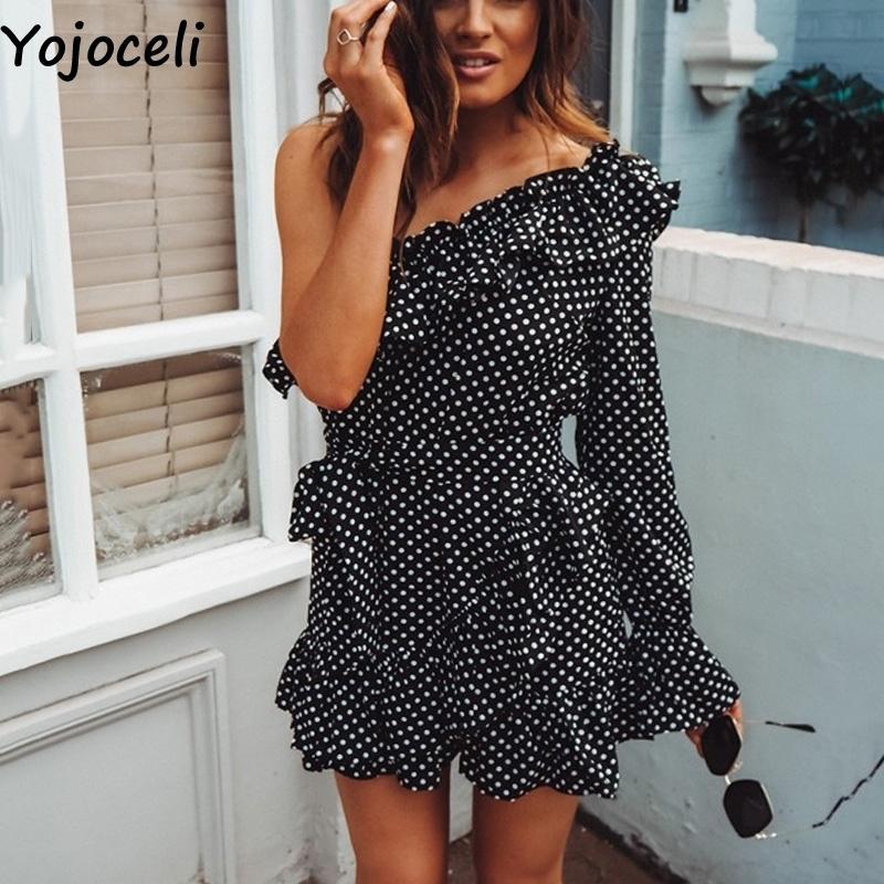 fd677742add Yojoceli Elegant Ruffle Bow Short Dress Women Spring One Shoulder Polka Dot  Dress Female Beach Cute Sexy Dress Vestidos Q190417 Long Prom Dresses Long  Black ...