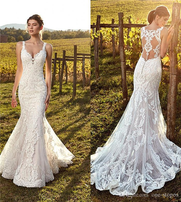 9c88b64c4ed6 2019 Summer Mermaid Wedding Dresses Sheer Back Full Lace Beach Bridal Gowns  Formal Dresses For Bohemian Wedding Gowns Custom Made Winter Wedding Dresses  ...