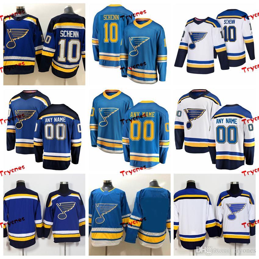 new concept 91caa de66c 2019 St. Louis Blues Brayden Schenn Stitched Jerseys Customize Alternate  Light Blue Shirts #10 Brayden Schenn Hockey Jerseys S-XXXL