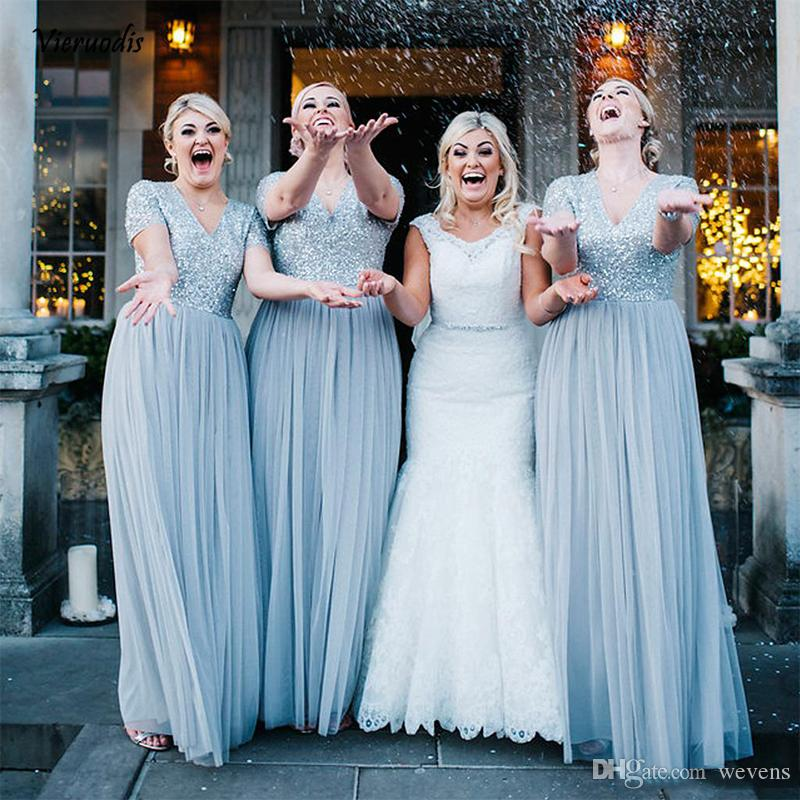 Blue A Line Long Bridesmaid Dresses with Short Sleeve V Neck Beaded Sequined Country Style Maid of Honor Dress Tulle Party Gown