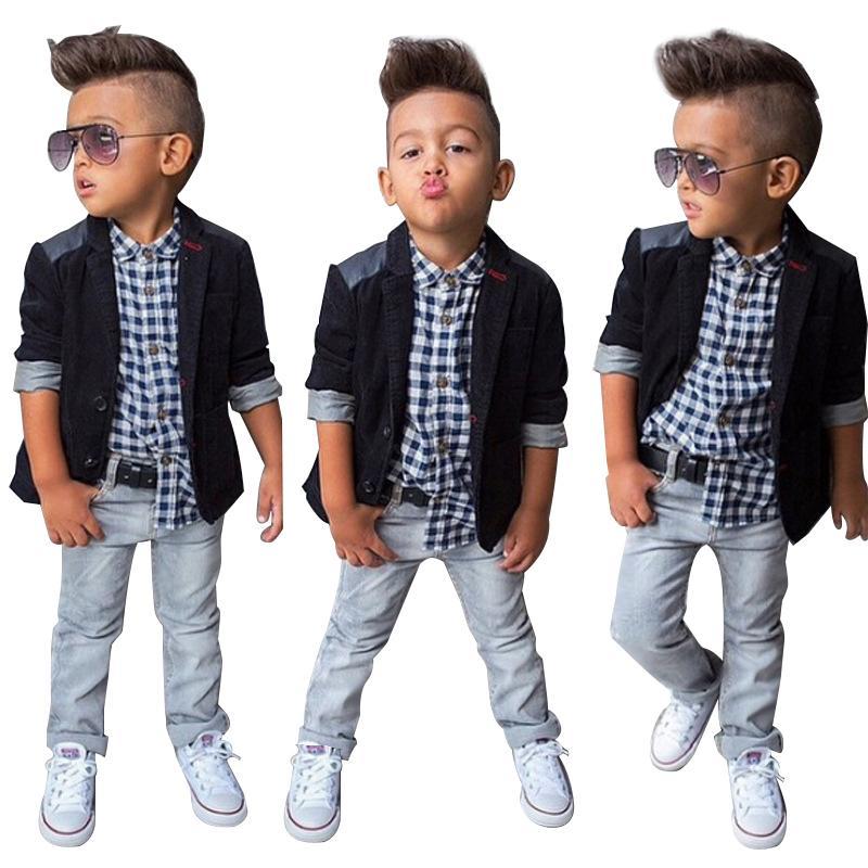 4dd64a2f352e4 2019 Spring Autumn Children Boys Clothing Sets Baby Boys Suit Set Black Jacket  Coat + Plaid Shirt + Denim Pants Kids Clothes Set From Yosicil02, ...
