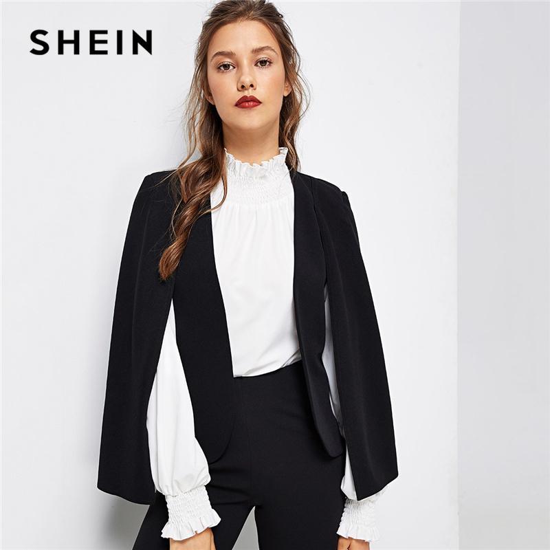 a2c40e5164 2019 Shein Black Poncho Office Lady Streetwear Cloak Open Front Blazer 2018  Autumn Elegant Modern Lady Workwear Women Coats Outerwear Y190418 From ...