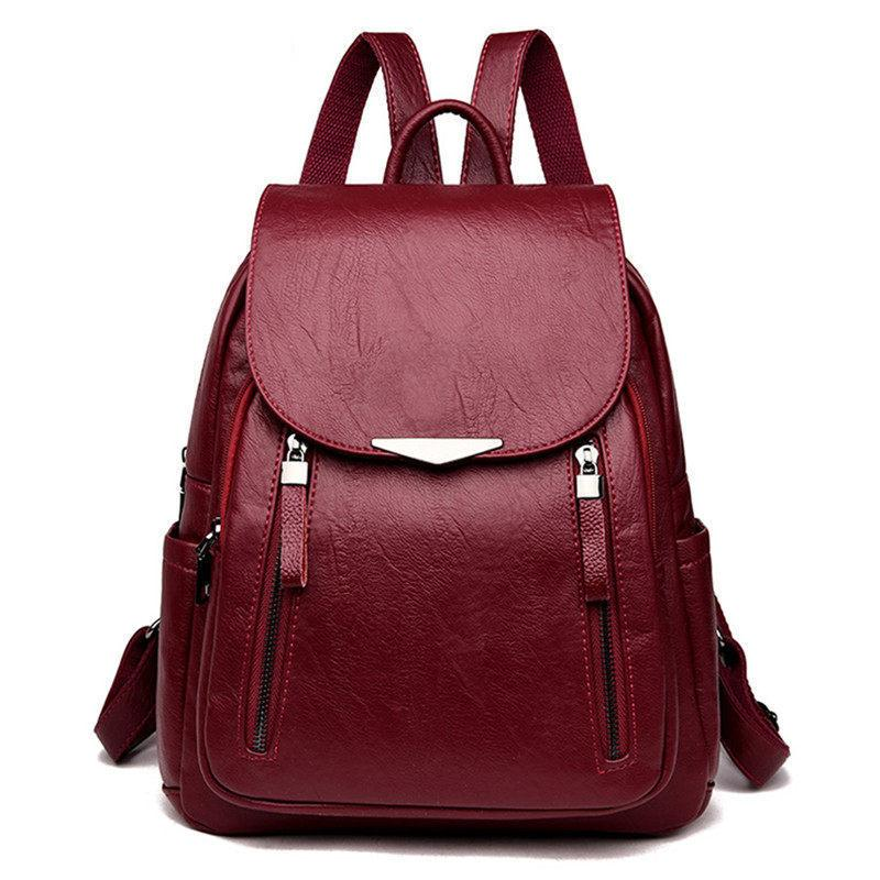 f03dcebcdf31 Good Quality Double Zipper Decoration Leather Backpack School Bags For  Teenagers Girls Travel Bagpack Mochilas Mujer 2019 Sac A Dos Dakine  Backpacks Back ...