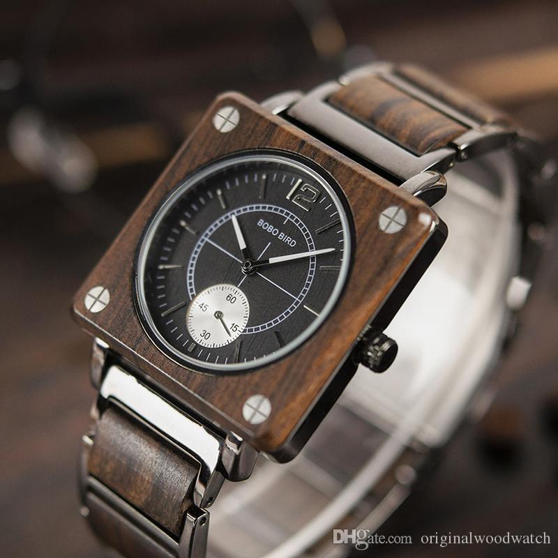 Compre Relojes Cuadrados Hombre Relojes De Pulsera De Madera Para Mujer  BOBO BIRD Hombre Mujer Relogio Feminino Erkek Kol Saati Reloj En Caja De  Regalo ... 61161faebb4b