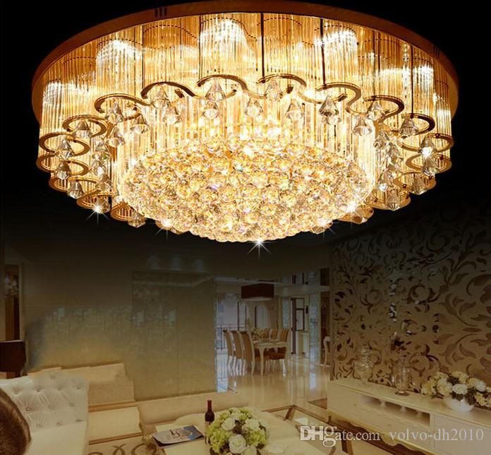 NEW Luxury Large Crystal Ceiling Lights Lamps With LED Chips Circular Flower Lamps For Foyer Hotel Engineering Lighting LLFA