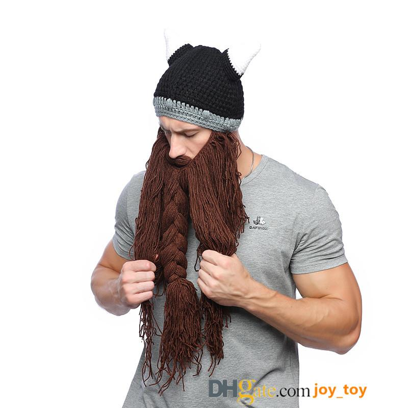 73a17898c3004 Knit Beard Hat with Horns Hat Detachable Bearded Face Mask Cap Outdoor  Activities Skiing Skull Beanies DDGT8585