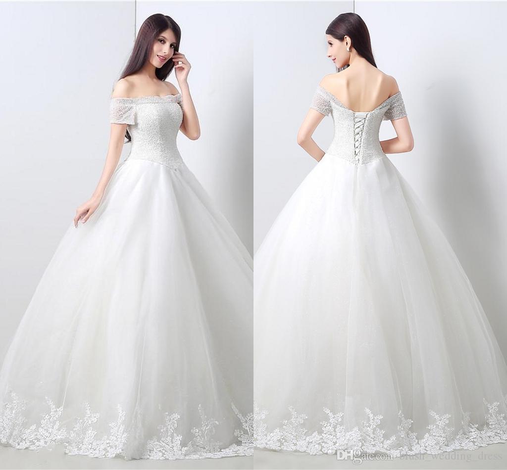 2b4d01794ab1 Elegante A-Linie Kleider Mit U-Boot-Ausschnitt Kurzen Ärmeln Ballkleid Tüll  Lange Hochzeit Weiße Braut Kleider Für Frauen Brautkleider