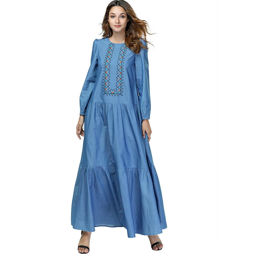 39d632205a Women Muslim Dress Abaya Dubai Plus Size Islamic Clothing Kaftan Pakistan  Turkish Moroccan Embroidery Robe Denim Maxi Dresses Online with   31.37 Piece on ...