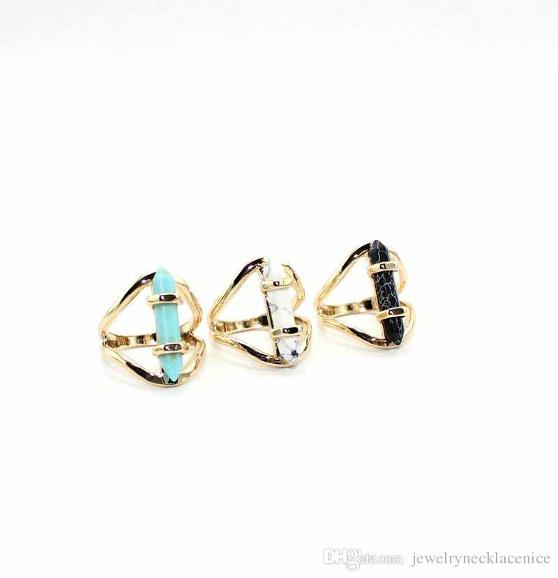 Fashion hexagon prism Natural Stone Ring Geometry White Black Turquoise Ring Gold Plated for women jewelry