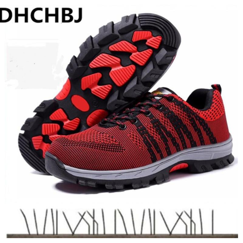4cb0b0fda35 2019 Men Breathable Steel Toe Cap Work Safety Shoes Women Outdoor Anti-slip  Steel Puncture Proof Construction Safety Boots 35-45