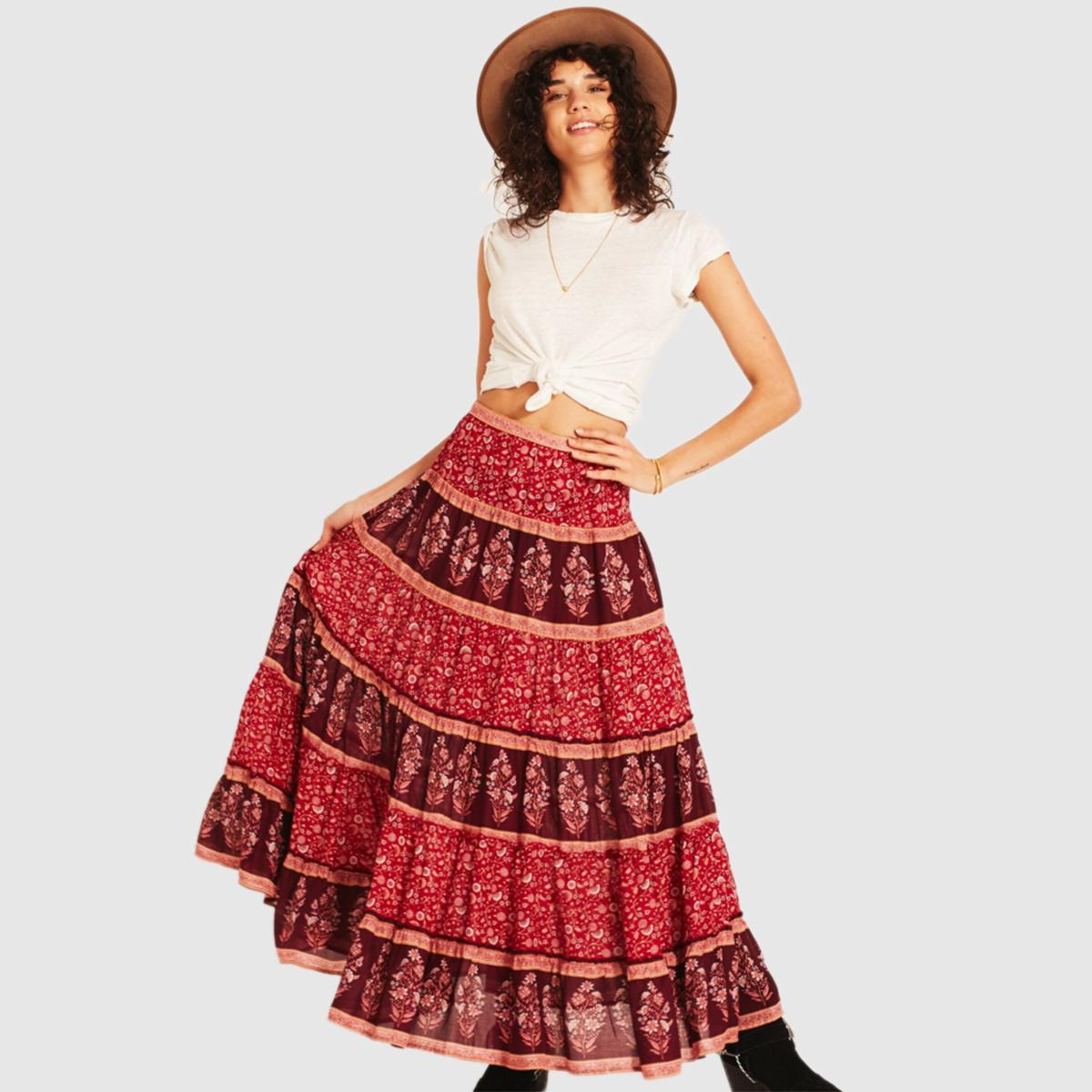 41eb90d5ad671 Floral Print Boho Skirt Women Summer 2018 Maxi Skirts Casual Beach Long  Gypsy Hem Bohemian Retro Long Hippie Pleated Skirt J190426