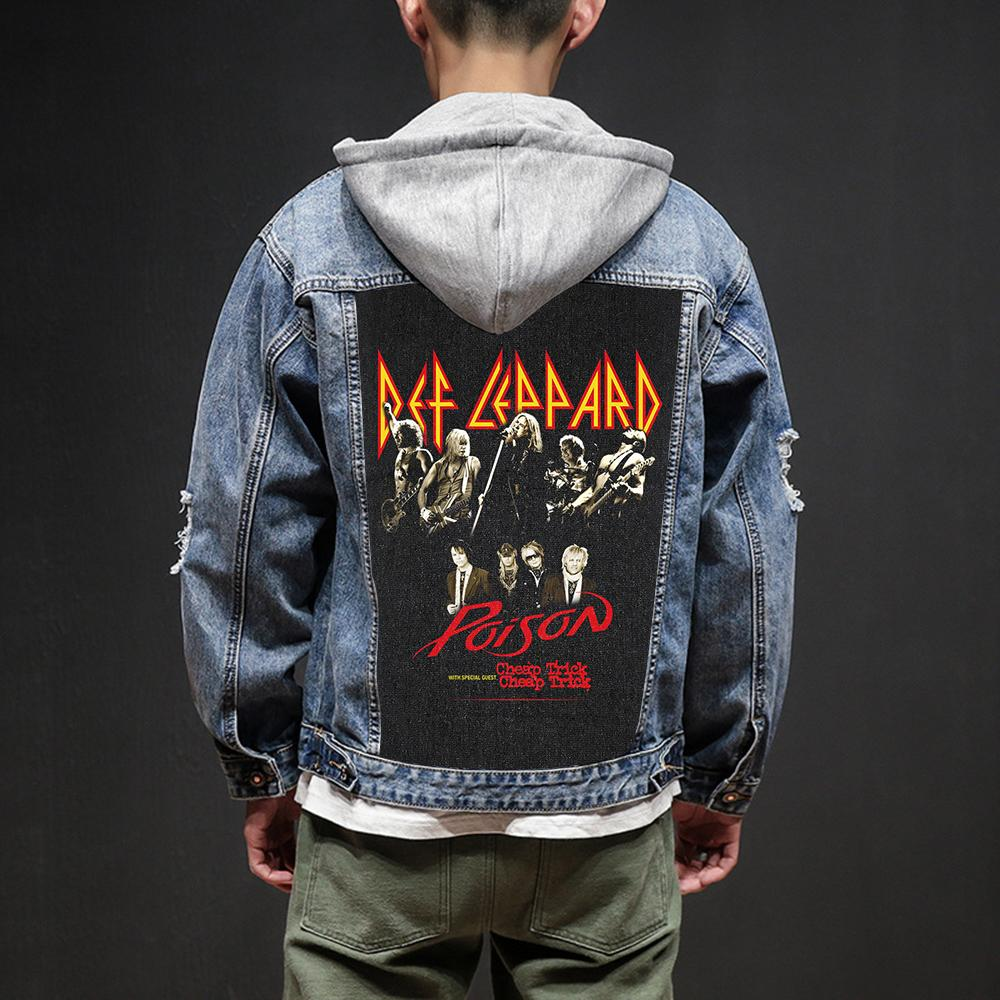 735c880177 Bloodhoof Store Def Leppard Rock And Roll Death Heavy Hardcore Punk Style  Patch Designs Denim Jeans Mens Jackets And Coats Mens Coats Jackets Black  Leather ...